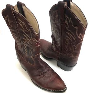 Old West Burgundy Dark Brown Cowgirl Boots